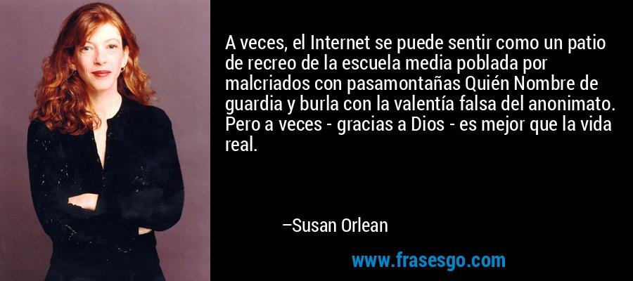 A veces, el Internet se puede sentir como un patio de recreo de la escuela media poblada por malcriados con pasamontañas Quién Nombre de guardia y burla con la valentía falsa del anonimato. Pero a veces - gracias a Dios - es mejor que la vida real. – Susan Orlean
