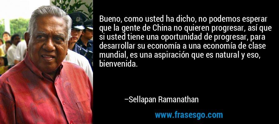 Bueno, como usted ha dicho, no podemos esperar que la gente de China no quieren progresar, así que si usted tiene una oportunidad de progresar, para desarrollar su economía a una economía de clase mundial, es una aspiración que es natural y eso, bienvenida. – Sellapan Ramanathan
