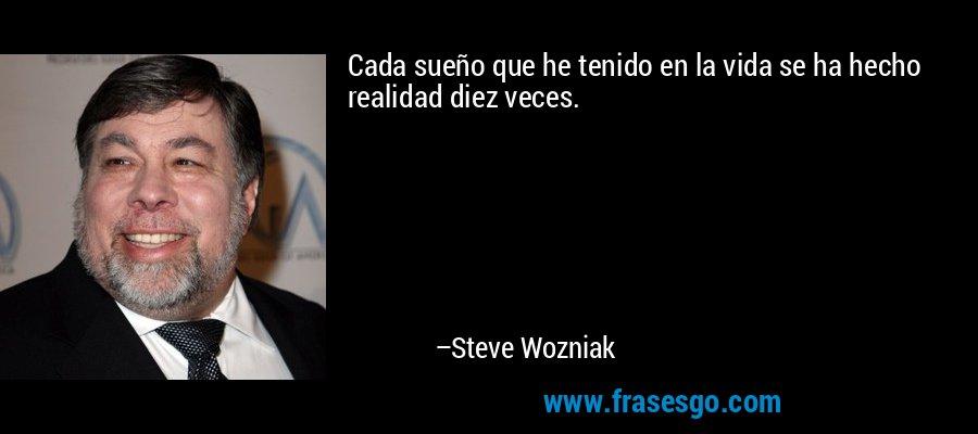 Cada sueño que he tenido en la vida se ha hecho realidad diez veces. – Steve Wozniak