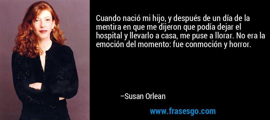 Cuando nació mi hijo, y después de un día de la mentira en que me dijeron que podía dejar el hospital y llevarlo a casa, me puse a llorar. No era la emoción del momento: fue conmoción y horror. – Susan Orlean