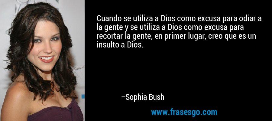 Cuando se utiliza a Dios como excusa para odiar a la gente y se utiliza a Dios como excusa para recortar la gente, en primer lugar, creo que es un insulto a Dios. – Sophia Bush