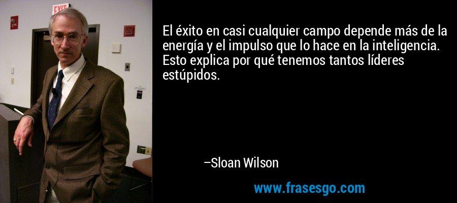 El éxito en casi cualquier campo depende más de la energía y el impulso que lo hace en la inteligencia. Esto explica por qué tenemos tantos líderes estúpidos. – Sloan Wilson