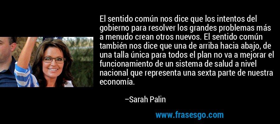 El sentido común nos dice que los intentos del gobierno para resolver los grandes problemas más a menudo crean otros nuevos. El sentido común también nos dice que una de arriba hacia abajo, de una talla única para todos el plan no va a mejorar el funcionamiento de un sistema de salud a nivel nacional que representa una sexta parte de nuestra economía. – Sarah Palin