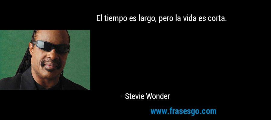 El tiempo es largo, pero la vida es corta. – Stevie Wonder