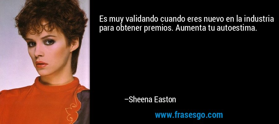 Es muy validando cuando eres nuevo en la industria para obtener premios. Aumenta tu autoestima. – Sheena Easton