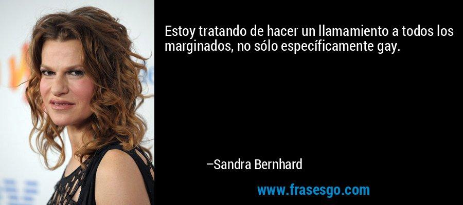 Estoy tratando de hacer un llamamiento a todos los marginados, no sólo específicamente gay. – Sandra Bernhard