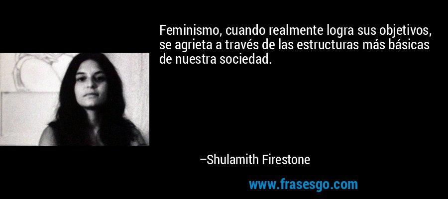 Feminismo, cuando realmente logra sus objetivos, se agrieta a través de las estructuras más básicas de nuestra sociedad. – Shulamith Firestone