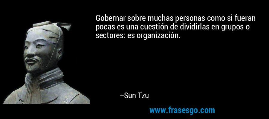 Gobernar sobre muchas personas como si fueran pocas es una cuestión de dividirlas en grupos o sectores: es organización. – Sun Tzu