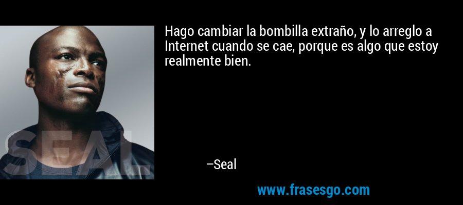 Hago cambiar la bombilla extraño, y lo arreglo a Internet cuando se cae, porque es algo que estoy realmente bien. – Seal