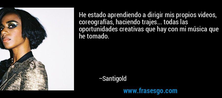 He estado aprendiendo a dirigir mis propios videos, coreografías, haciendo trajes... todas las oportunidades creativas que hay con mi música que he tomado. – Santigold