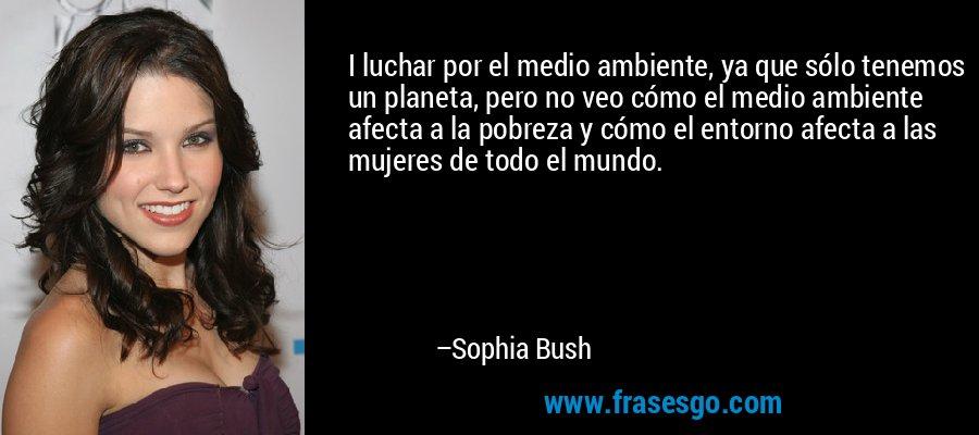 I luchar por el medio ambiente, ya que sólo tenemos un planeta, pero no veo cómo el medio ambiente afecta a la pobreza y cómo el entorno afecta a las mujeres de todo el mundo. – Sophia Bush