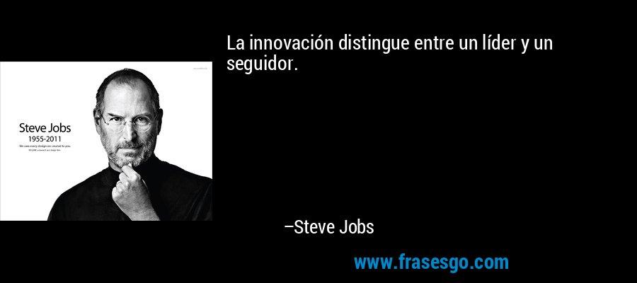 La innovación distingue entre un líder y un seguidor. – Steve Jobs