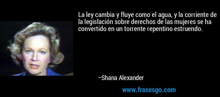 La ley cambia y fluye como el agua, y la corriente de la legislación sobre derechos de las mujeres se ha convertido en un torrente repentino estruendo. – Shana Alexander