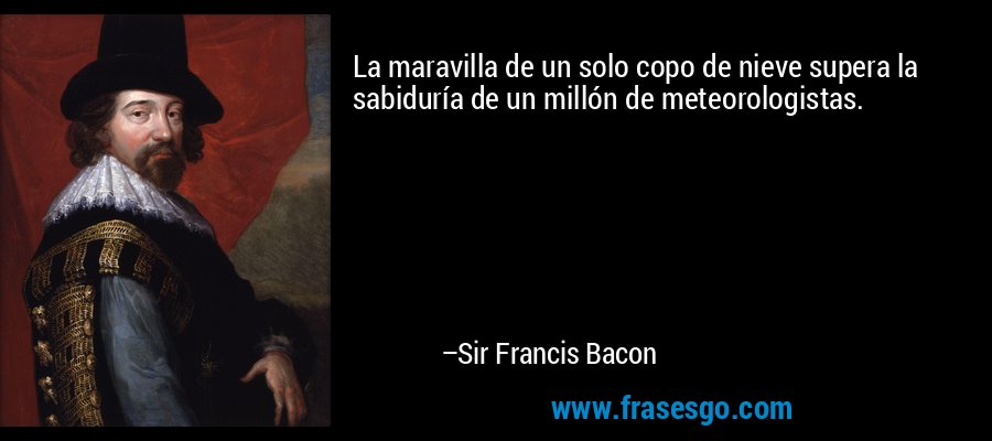 La maravilla de un solo copo de nieve supera la sabiduría de un millón de meteorologistas. – Sir Francis Bacon