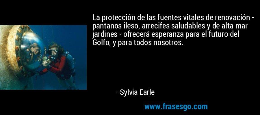 La protección de las fuentes vitales de renovación - pantanos ileso, arrecifes saludables y de alta mar jardines - ofrecerá esperanza para el futuro del Golfo, y para todos nosotros. – Sylvia Earle