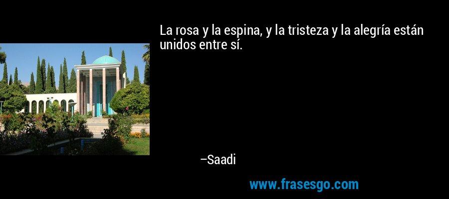 La rosa y la espina, y la tristeza y la alegría están unidos entre sí. – Saadi