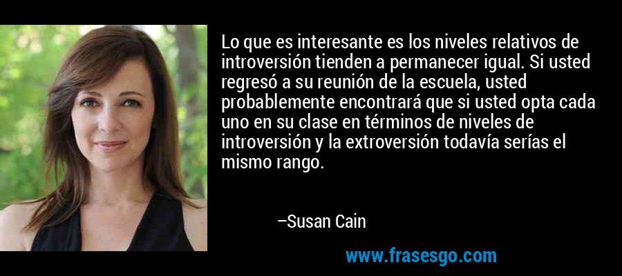 Lo que es interesante es los niveles relativos de introversión tienden a permanecer igual. Si usted regresó a su reunión de la escuela, usted probablemente encontrará que si usted opta cada uno en su clase en términos de niveles de introversión y la extroversión todavía serías el mismo rango. – Susan Cain