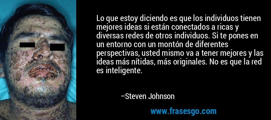 Lo que estoy diciendo es que los individuos tienen mejores ideas si están conectados a ricas y diversas redes de otros individuos. Si te pones en un entorno con un montón de diferentes perspectivas, usted mismo va a tener mejores y las ideas más nítidas, más originales. No es que la red es inteligente. – Steven Johnson