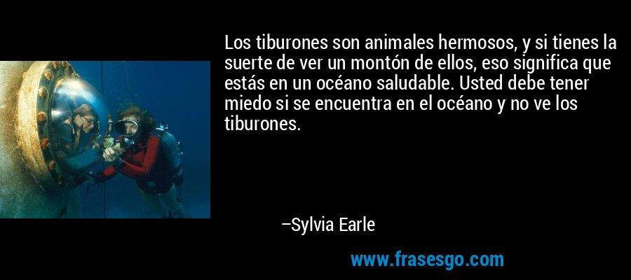 Los tiburones son animales hermosos, y si tienes la suerte de ver un montón de ellos, eso significa que estás en un océano saludable. Usted debe tener miedo si se encuentra en el océano y no ve los tiburones. – Sylvia Earle