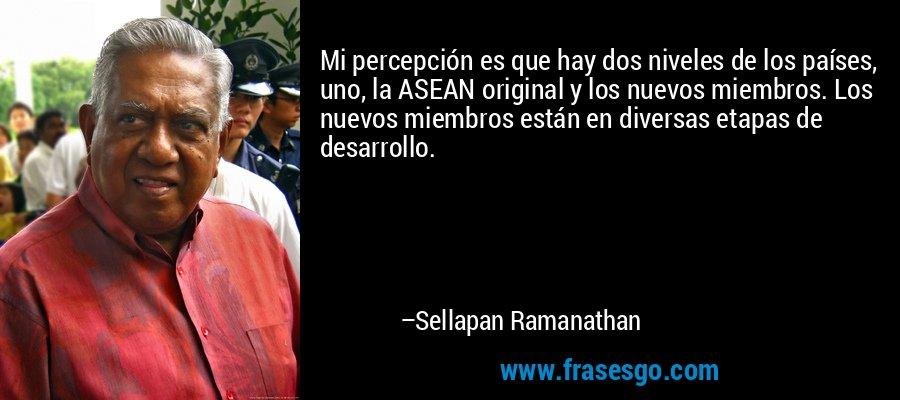 Mi percepción es que hay dos niveles de los países, uno, la ASEAN original y los nuevos miembros. Los nuevos miembros están en diversas etapas de desarrollo. – Sellapan Ramanathan