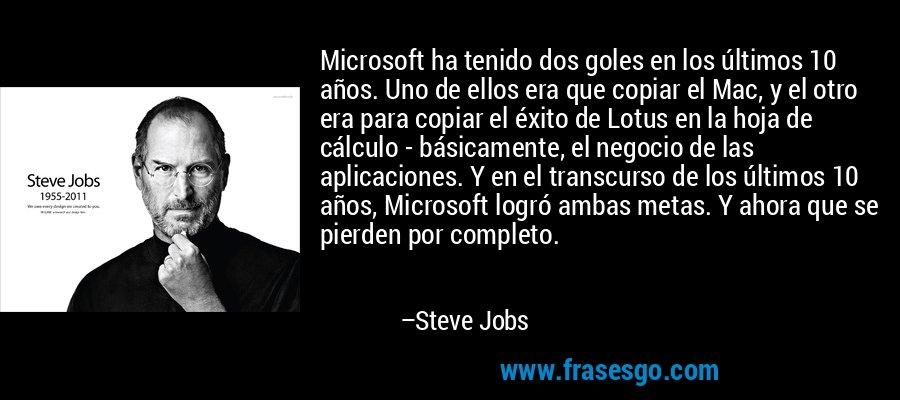 Microsoft ha tenido dos goles en los últimos 10 años. Uno de ellos era que copiar el Mac, y el otro era para copiar el éxito de Lotus en la hoja de cálculo - básicamente, el negocio de las aplicaciones. Y en el transcurso de los últimos 10 años, Microsoft logró ambas metas. Y ahora que se pierden por completo. – Steve Jobs