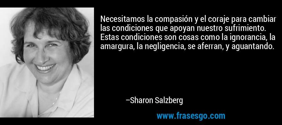 Necesitamos la compasión y el coraje para cambiar las condiciones que apoyan nuestro sufrimiento. Estas condiciones son cosas como la ignorancia, la amargura, la negligencia, se aferran, y aguantando. – Sharon Salzberg