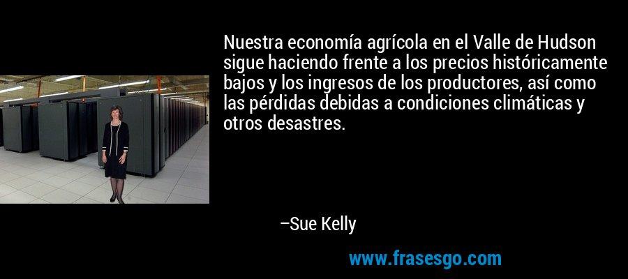 Nuestra economía agrícola en el Valle de Hudson sigue haciendo frente a los precios históricamente bajos y los ingresos de los productores, así como las pérdidas debidas a condiciones climáticas y otros desastres. – Sue Kelly