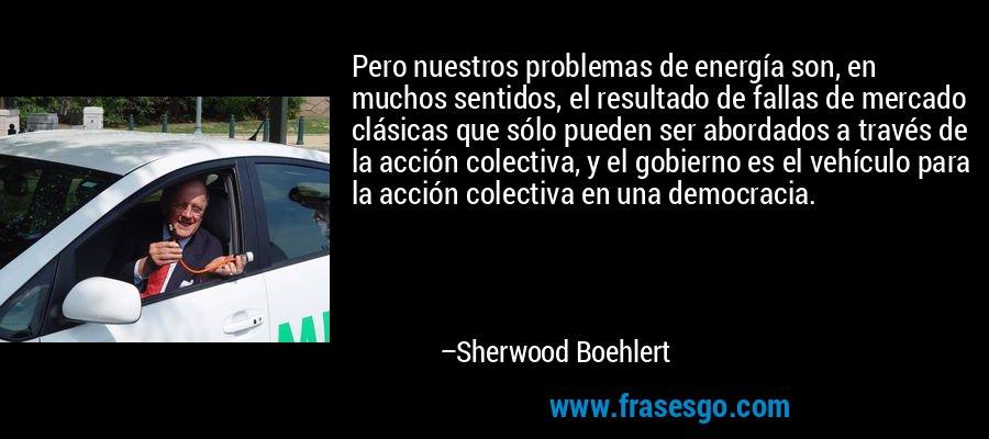 Pero nuestros problemas de energía son, en muchos sentidos, el resultado de fallas de mercado clásicas que sólo pueden ser abordados a través de la acción colectiva, y el gobierno es el vehículo para la acción colectiva en una democracia. – Sherwood Boehlert