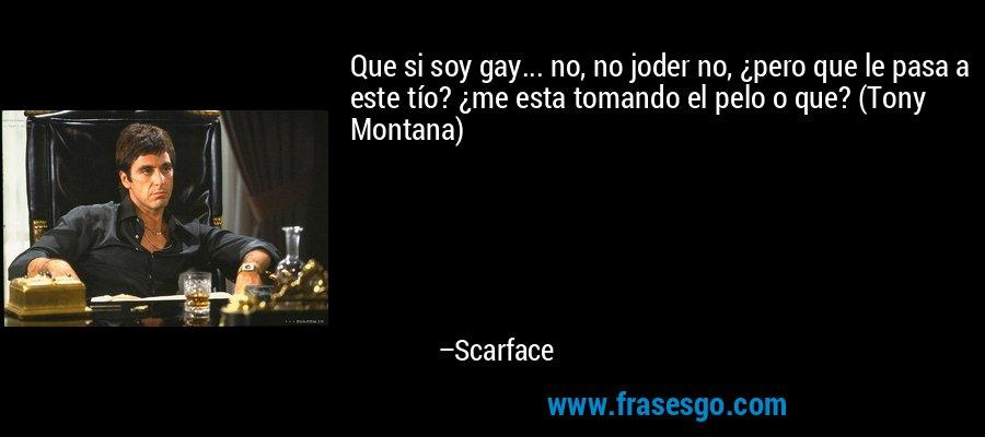 Que si soy gay... no, no joder no, ¿pero que le pasa a este tío? ¿me esta tomando el pelo o que? (Tony Montana) – Scarface