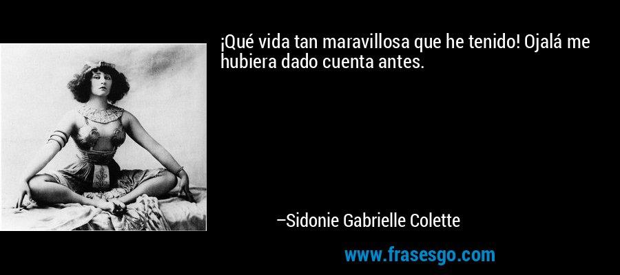 ¡Qué vida tan maravillosa que he tenido! Ojalá me hubiera dado cuenta antes. – Sidonie Gabrielle Colette
