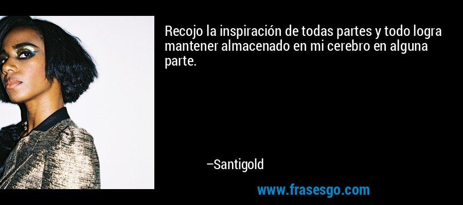 Recojo la inspiración de todas partes y todo logra mantener almacenado en mi cerebro en alguna parte. – Santigold