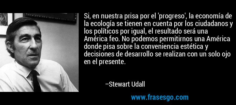 Si, en nuestra prisa por el 'progreso', la economía de la ecología se tienen en cuenta por los ciudadanos y los políticos por igual, el resultado será una América feo. No podemos permitirnos una América donde pisa sobre la conveniencia estética y decisiones de desarrollo se realizan con un solo ojo en el presente. – Stewart Udall