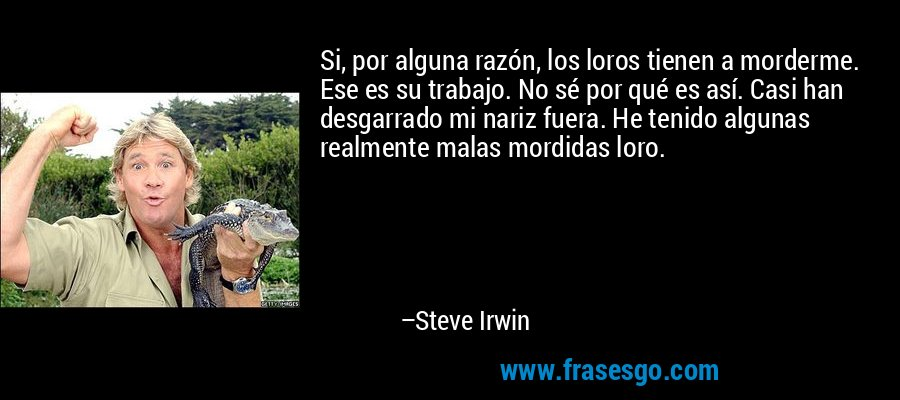 Si, por alguna razón, los loros tienen a morderme. Ese es su trabajo. No sé por qué es así. Casi han desgarrado mi nariz fuera. He tenido algunas realmente malas mordidas loro. – Steve Irwin
