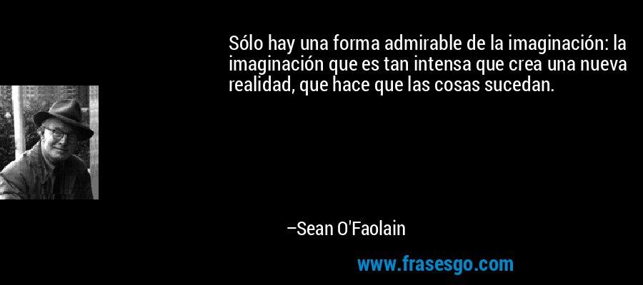 Sólo hay una forma admirable de la imaginación: la imaginación que es tan intensa que crea una nueva realidad, que hace que las cosas sucedan. – Sean O'Faolain