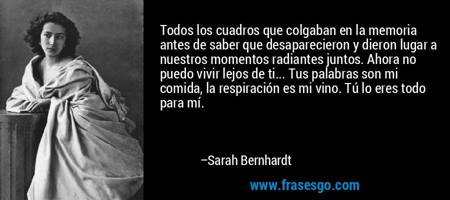 Todos los cuadros que colgaban en la memoria antes de saber que desaparecieron y dieron lugar a nuestros momentos radiantes juntos. Ahora no puedo vivir lejos de ti... Tus palabras son mi comida, la respiración es mi vino. Tú lo eres todo para mí. – Sarah Bernhardt