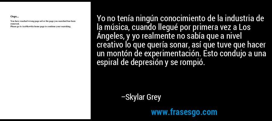 Yo no tenía ningún conocimiento de la industria de la música, cuando llegué por primera vez a Los Ángeles, y yo realmente no sabía que a nivel creativo lo que quería sonar, así que tuve que hacer un montón de experimentación. Esto condujo a una espiral de depresión y se rompió. – Skylar Grey