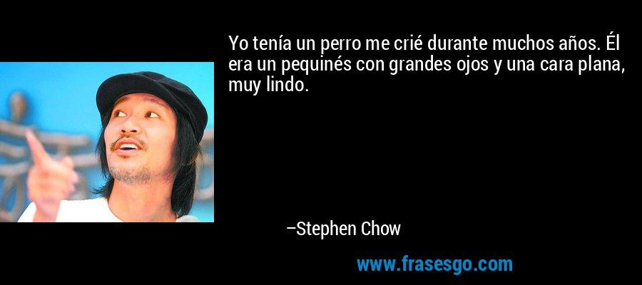 Yo tenía un perro me crié durante muchos años. Él era un pequinés con grandes ojos y una cara plana, muy lindo. – Stephen Chow