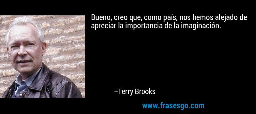 Bueno, creo que, como país, nos hemos alejado de apreciar la importancia de la imaginación. – Terry Brooks