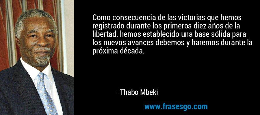 Como consecuencia de las victorias que hemos registrado durante los primeros diez años de la libertad, hemos establecido una base sólida para los nuevos avances debemos y haremos durante la próxima década. – Thabo Mbeki