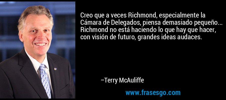 Creo que a veces Richmond, especialmente la Cámara de Delegados, piensa demasiado pequeño... Richmond no está haciendo lo que hay que hacer, con visión de futuro, grandes ideas audaces. – Terry McAuliffe