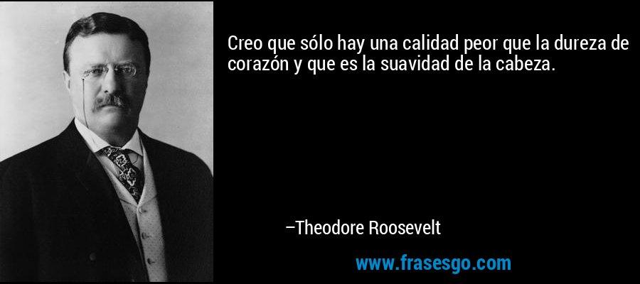 Creo que sólo hay una calidad peor que la dureza de corazón y que es la suavidad de la cabeza. – Theodore Roosevelt