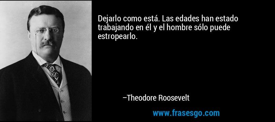 Dejarlo como está. Las edades han estado trabajando en él y el hombre sólo puede estropearlo. – Theodore Roosevelt