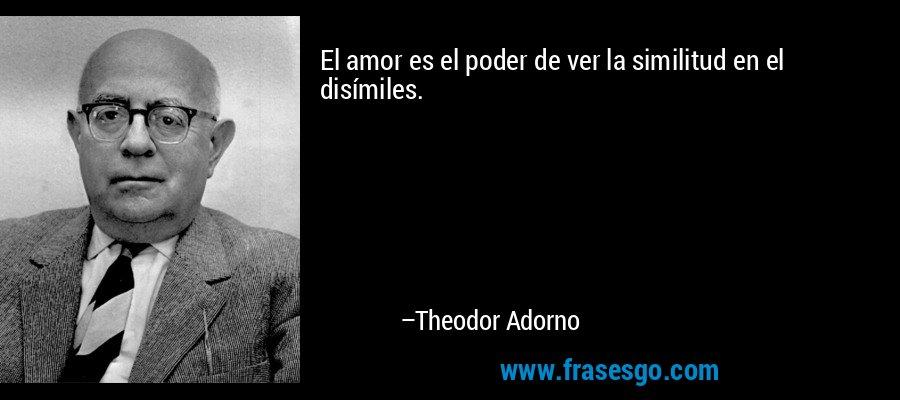El amor es el poder de ver la similitud en el disímiles. – Theodor Adorno