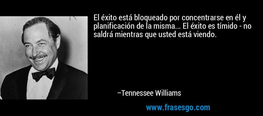 El éxito está bloqueado por concentrarse en él y planificación de la misma... El éxito es tímido - no saldrá mientras que usted está viendo. – Tennessee Williams
