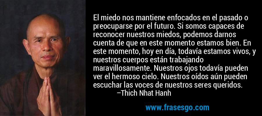 El miedo nos mantiene enfocados en el pasado o preocuparse por el futuro. Si somos capaces de reconocer nuestros miedos, podemos darnos cuenta de que en este momento estamos bien. En este momento, hoy en día, todavía estamos vivos, y nuestros cuerpos están trabajando maravillosamente. Nuestros ojos todavía pueden ver el hermoso cielo. Nuestros oídos aún pueden escuchar las voces de nuestros seres queridos. – Thich Nhat Hanh