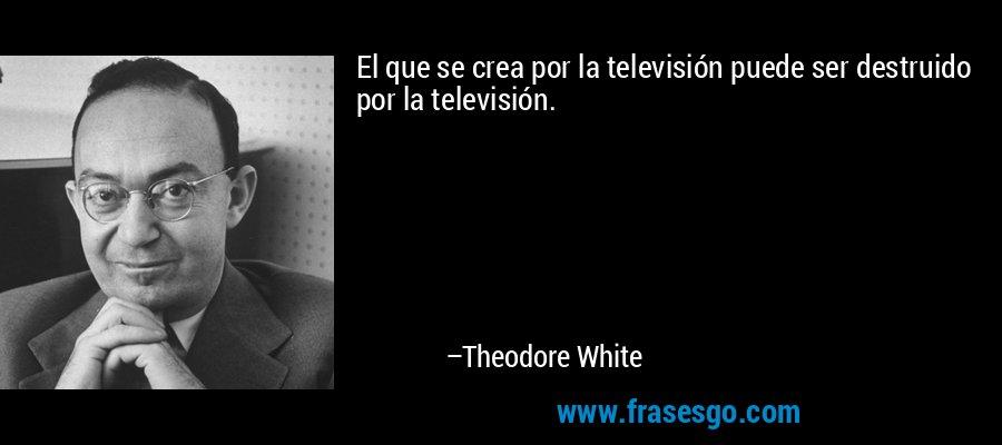 El que se crea por la televisión puede ser destruido por la televisión. – Theodore White