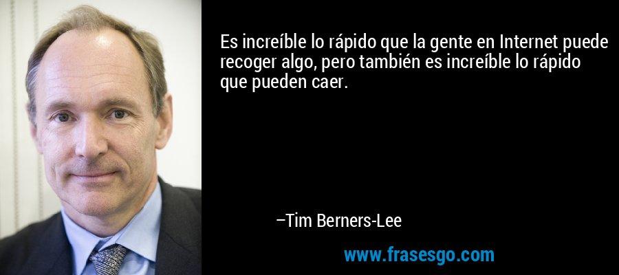 Es increíble lo rápido que la gente en Internet puede recoger algo, pero también es increíble lo rápido que pueden caer. – Tim Berners-Lee