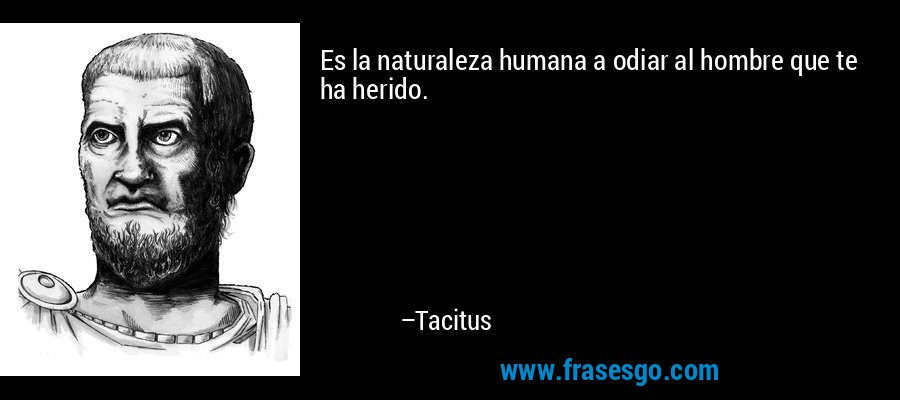 Es la naturaleza humana a odiar al hombre que te ha herido. – Tacitus