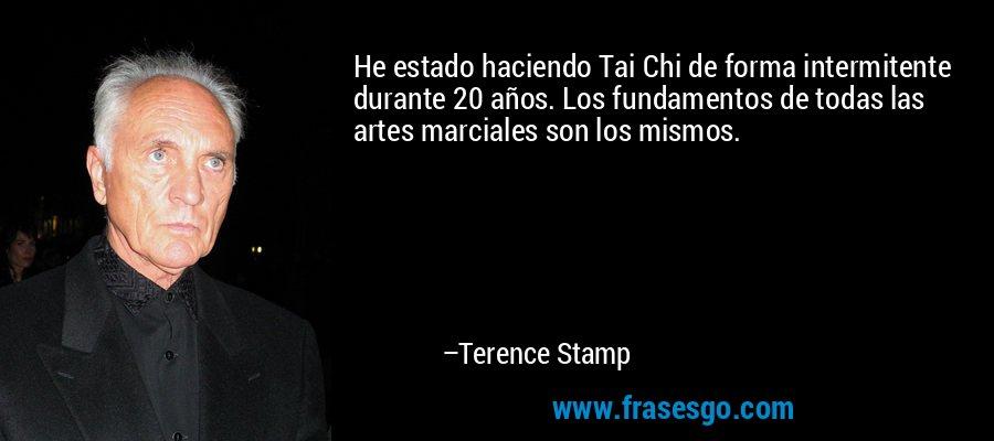 He estado haciendo Tai Chi de forma intermitente durante 20 años. Los fundamentos de todas las artes marciales son los mismos. – Terence Stamp