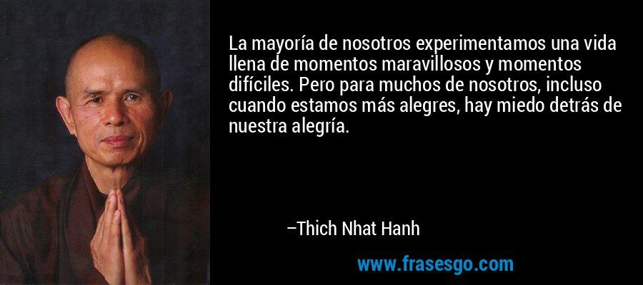 La mayoría de nosotros experimentamos una vida llena de momentos maravillosos y momentos difíciles. Pero para muchos de nosotros, incluso cuando estamos más alegres, hay miedo detrás de nuestra alegría. – Thich Nhat Hanh